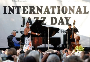 Sunrise Concert in New Orleans, in Congo Square, International Jazz Day 2012, with Ellis Marsalis, Stephanie Jordan and John Guerin.