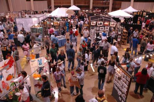 Art booths inside Denton Civic Center.