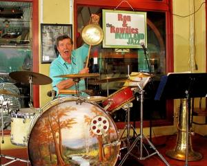 Ron Fink with his vintage drum set.