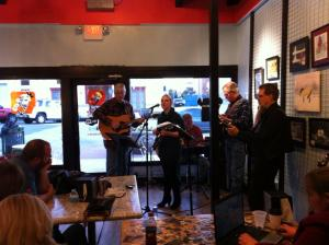 George Merritt & Friends play Tunes & Tales at Denton Square Donuts.