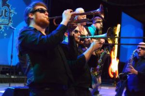Jordan Gheen, left, playing with the Walton Stout Band.
