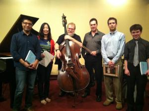 "Featured pianists at the April, 2013, DJPS ""Rising Stars"" concert: l. to r. Damian Garcia, Ji-Sung Kim, Lynn Seaton (bass), Rich DeRosa (drums), Sam Garner and Michael Clement. Nice job everyone!"