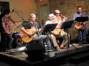 Le Not So Hot Klub du Denton playing Gypsy Jazz at Banter Bistro during First Tuesday.