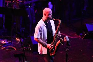 Walt Weiskopf solos on the tenor saxophone as Steely Dan performs in concert at Hard Rock Cafe Orlando on Wednesday, September 11, 2013. (Joshua C. Cruey/Orlando Sentinel)