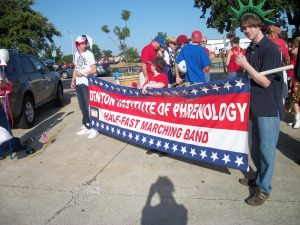 Denton Institute of Phrenology Marching Band at July 4 Parade.