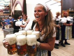 Beer flows at Munchen (Munich) Oktoberfest.