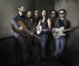 "The Lost Tapes ""band"" - Elvis Costello, Jim James, T. Bone Burnett, Rhiannon Giddens, Marcus Mumford and Taylor Goldsmith."